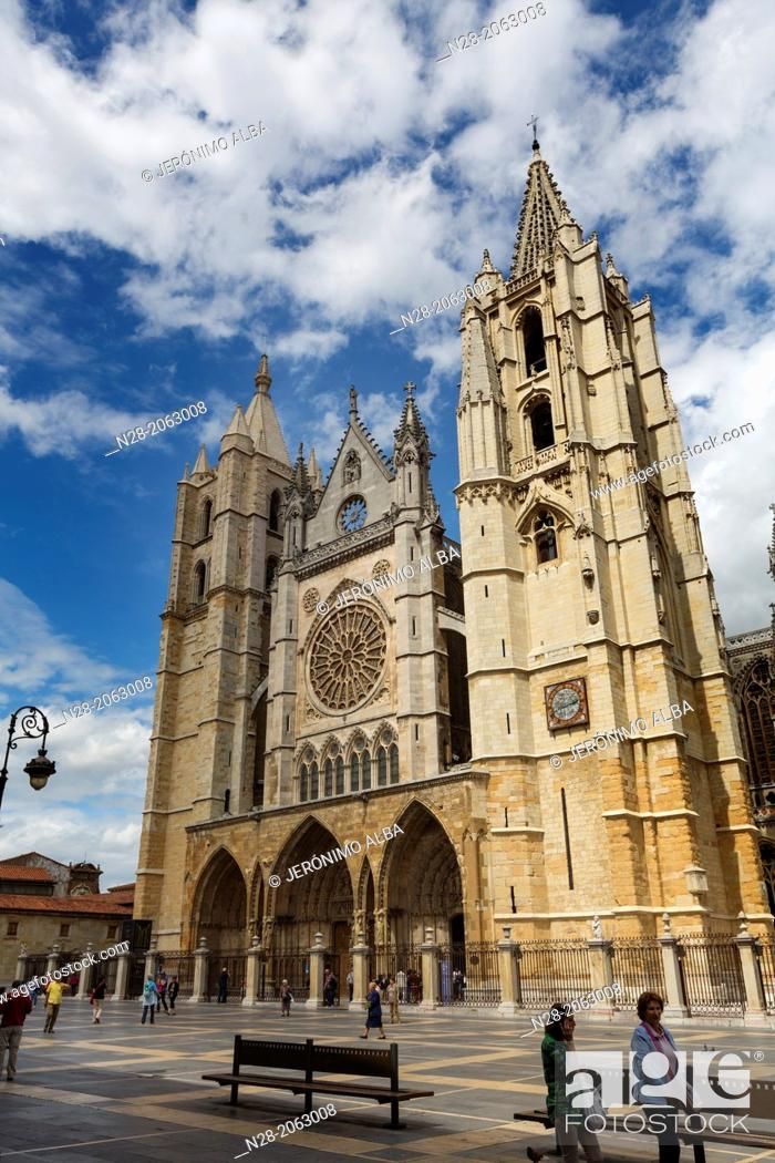 Stock Photo: Gothic style Cathedral, Leon, Way of St James, Castilla-Leon, Spain.