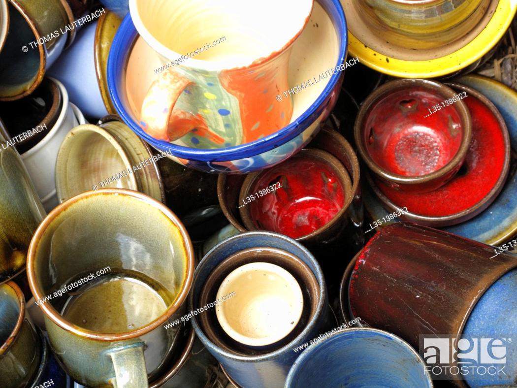Stock Photo: Various pottery.