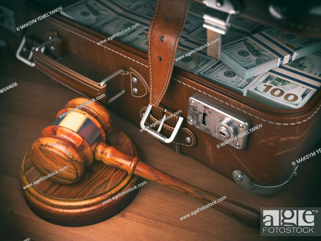 Stock Photo: Gavel and suitacse full of money. Concept of corruption, business crime or paying an auction. 3d illustration.