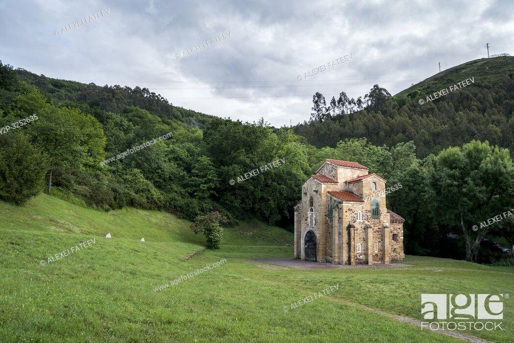 Stock Photo: Romanesque church San Miguel de Lillo in Oviedo, Asturias, Spain.