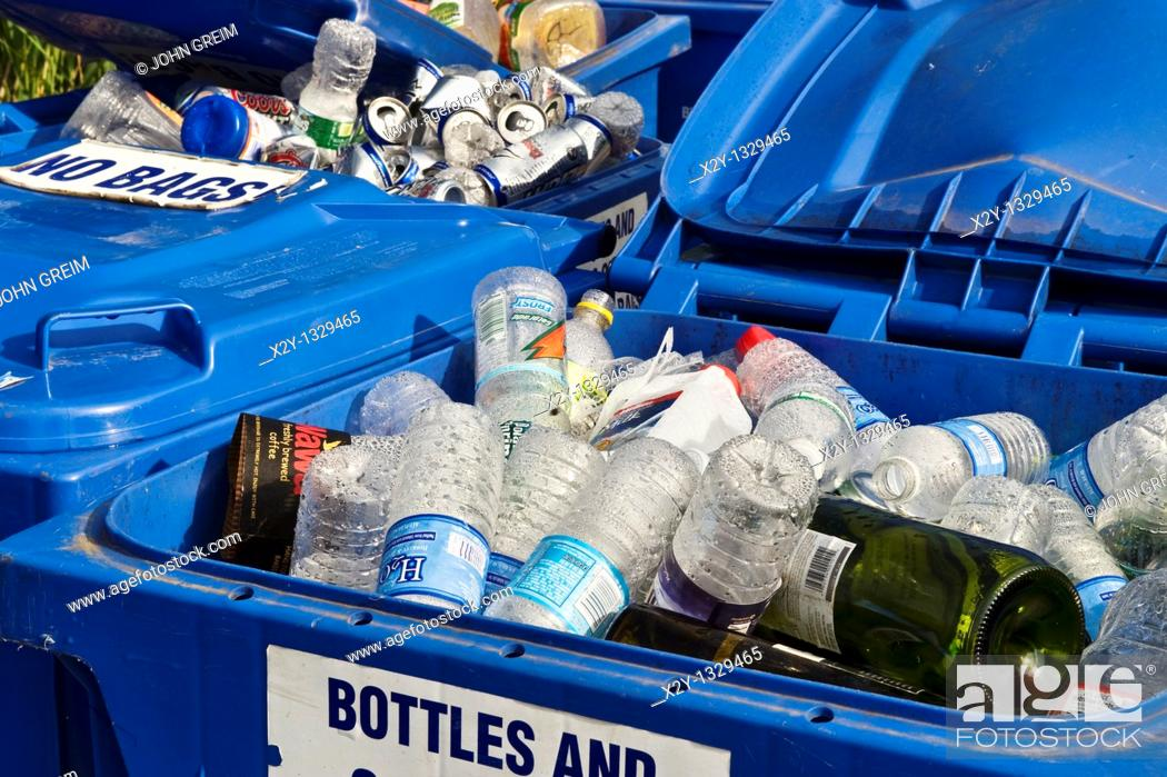 Stock Photo: Glass and plasctic recycling bin.