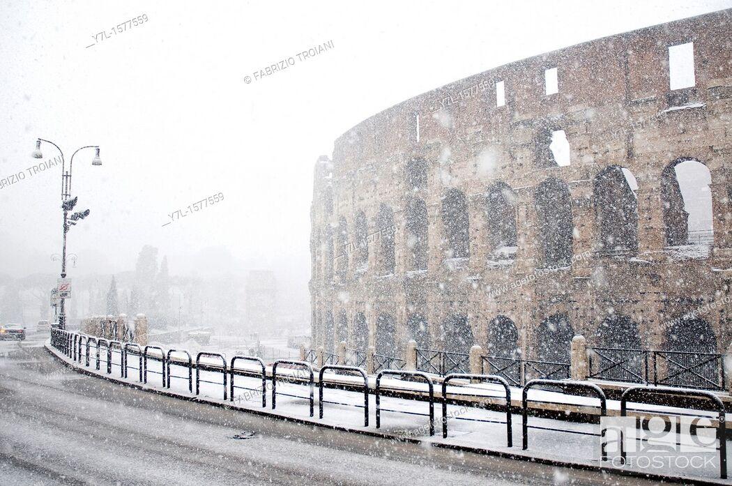Stock Photo: The Colosseum under heavy snow, Rome Italy.