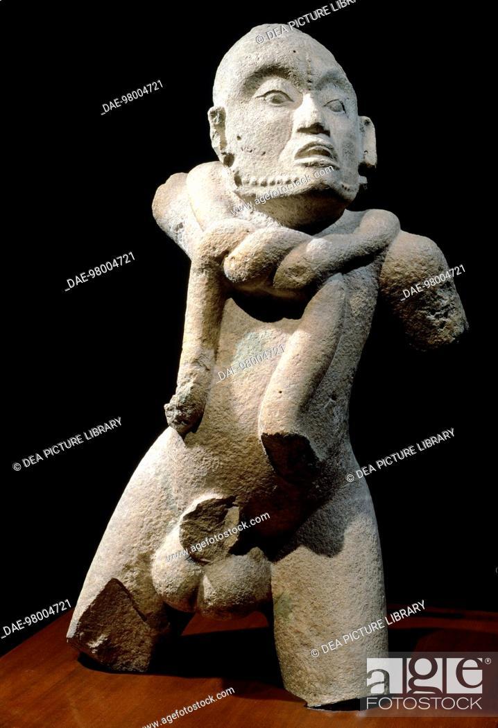 Stock Photo: Teenager from Cumpich, stone sculpture originating from Mexico. Mayan Civilization, 10th-11th Century.  Mexico City, Museo Nacional De Antropología.