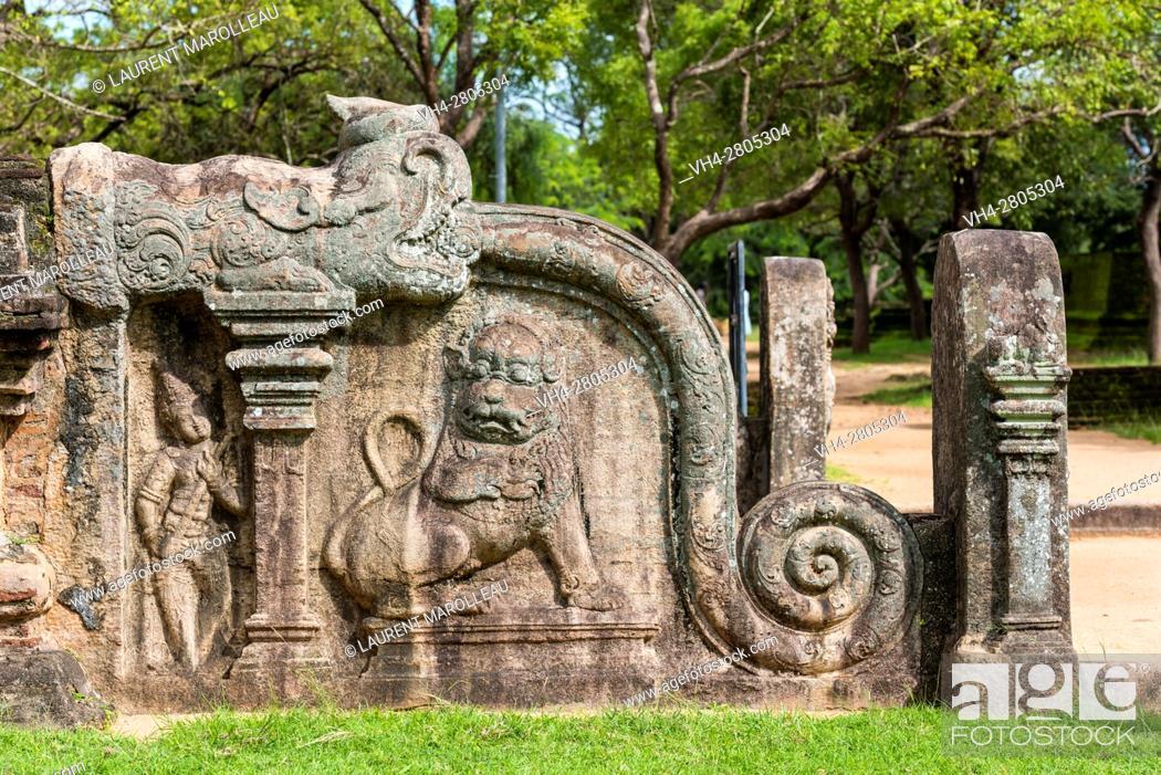 Stock Photo: Korawakgala or Makara Balustrade at the Entrance of Lankatilaka Image House, Alahana Pirivena Monastery Complex built by the King Parakramabahu the Great.