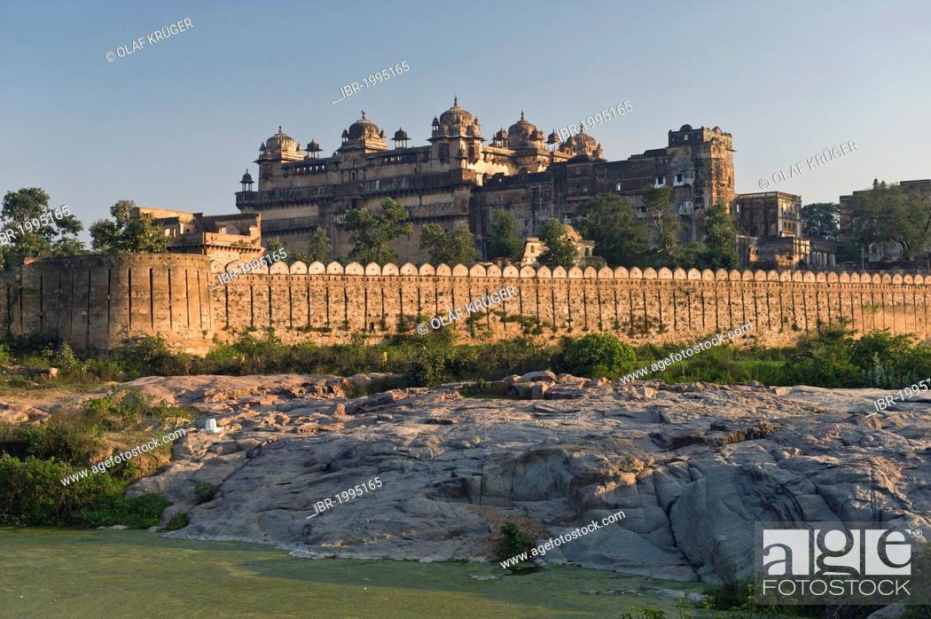 Stock Photo: Raj Mahal Palast, Orchha, Madhya Pradesh, Nordindien, Indien, Asien.