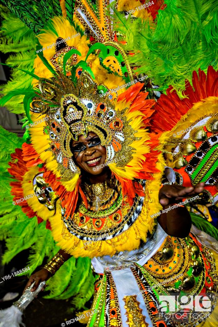 Stock Photo: Costumed dancers celebrate the New Year with the Junkanoo Parade on January 1, 2013 in Nassau, Bahamas  The carnival like festival is celebrated in the early.