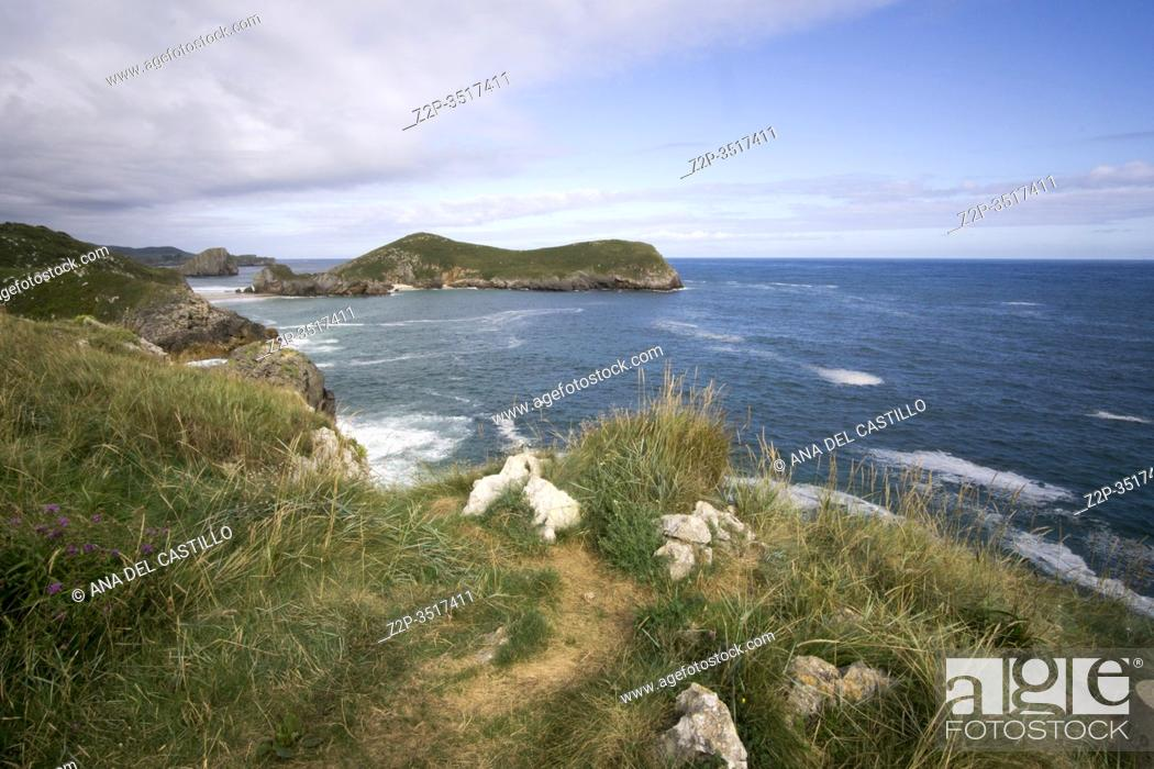 Stock Photo: Llanes at North of Spain at Asturias region is an amazing place for enjoying the outdoors with amazing wild and green beaches like this panoramic view of Poo.