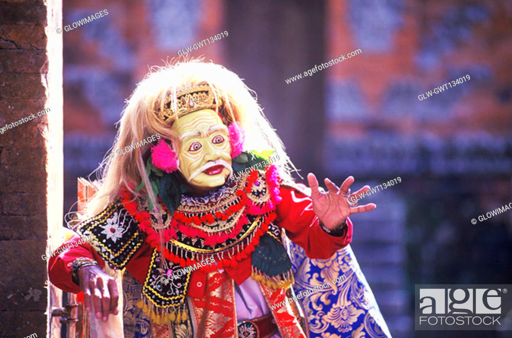 Stock Photo: Close-up of a Balinese stage performer gesturing with her hands, Bali, Indonesia.