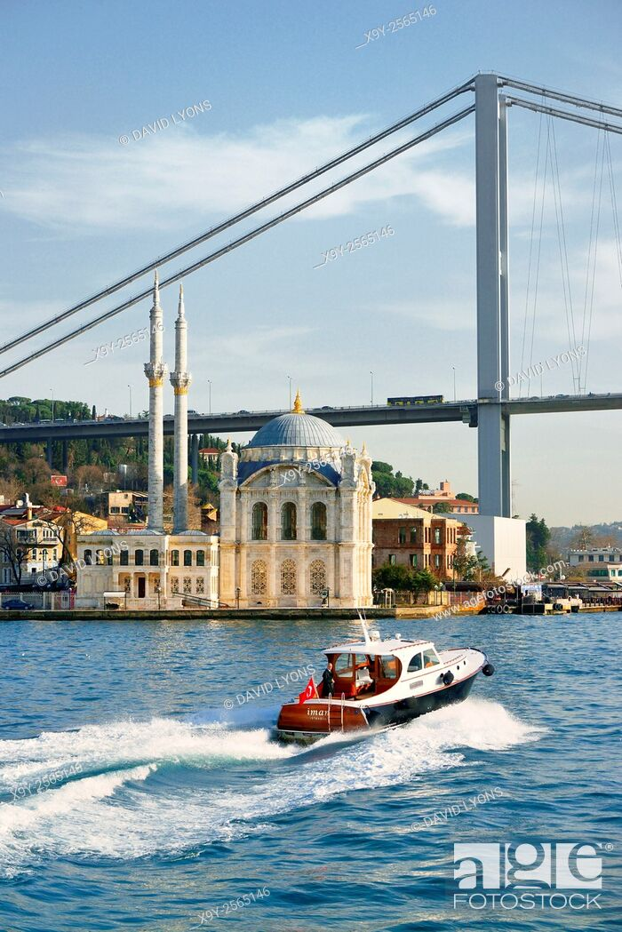 Stock Photo: Ortakoy Mosque, Istanbul, Turkey, seen from the Bosphorus. Completed 1856. The First Bosphorus Bridge rises behind.