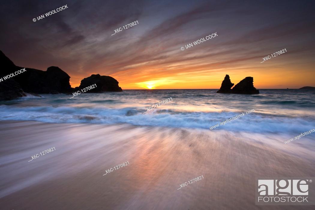 Stock Photo: Sunset at Porthcothan Bay, Cornwall England.