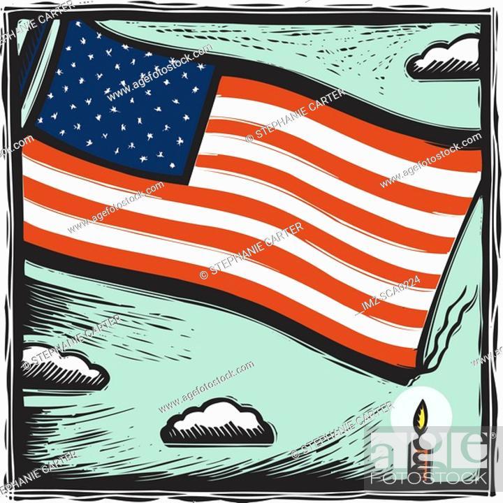 Stock Photo: Burning the flag.