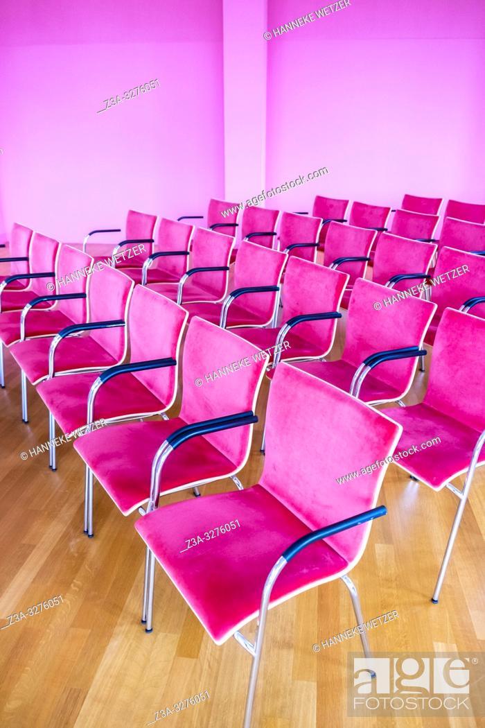 Imagen: Pink chairs in museum Depot, Wageningen, the Netherlands, Europe.