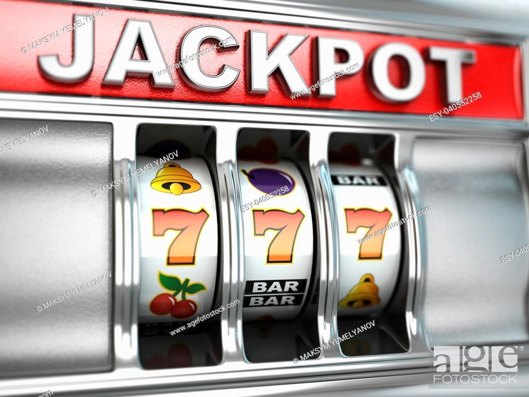 Imagen: Jackpot on slot machine. Three-dimensional image. 3d.