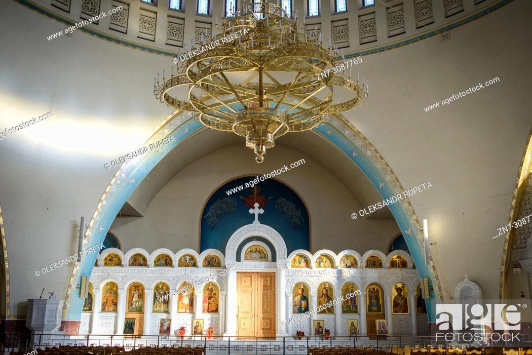 Stock Photo: Interior of a church, Tirana, Albania.