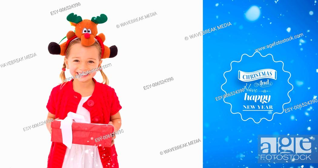 9b9e92e5b104 Stock Photo - Composite image of cute little girl wearing rudolph headband