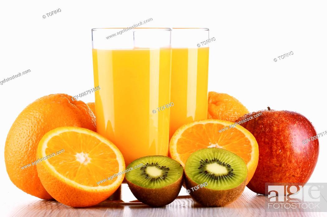 Stock Photo: Glasses of orange juice and fruits isolated on white.
