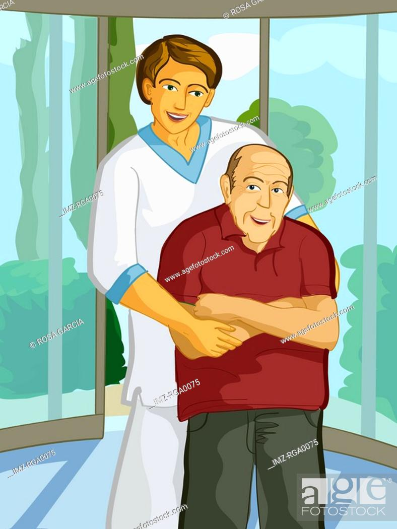 Stock Photo: A health care worker helping an elderly man.