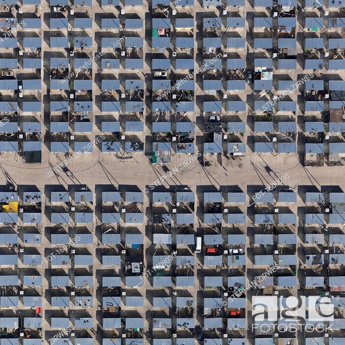 Stock Photo: Full frame aerial view of township, Cape Town, South Africa.