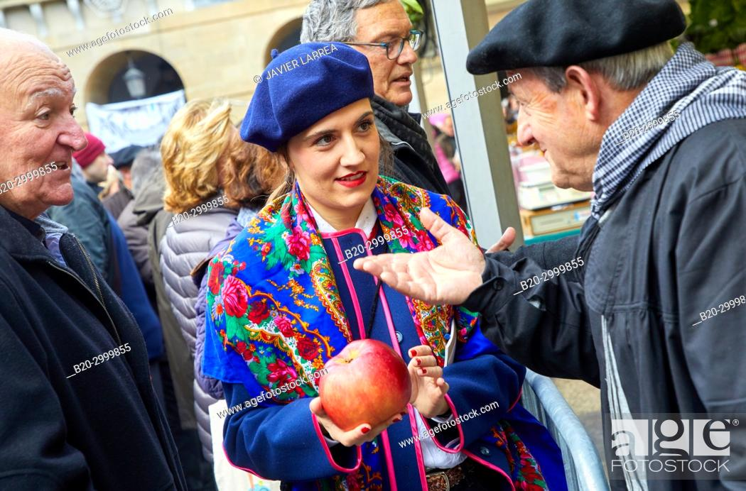 Stock Photo: Fruit and vegetable contest, Large apple, Feria de Santo Tomás, The feast of St. Thomas takes place on December 21. During this day San Sebastián is transformed.