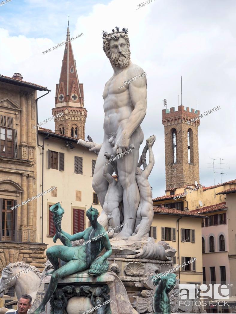 Stock Photo: The Fountain of Neptune on the Piazza della Signoria, Florence, capital of Tuscany region, Italy.