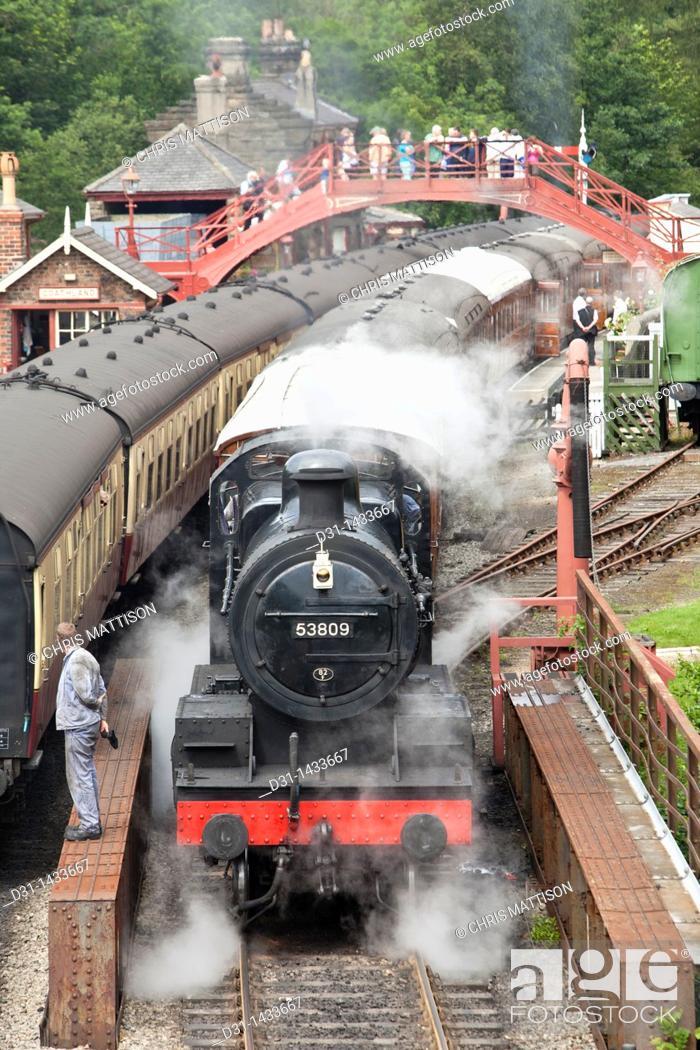 Stock Photo: Locomotive 53809, Class 7F, at Goathland Station, North Yorkshire Moors Railway.