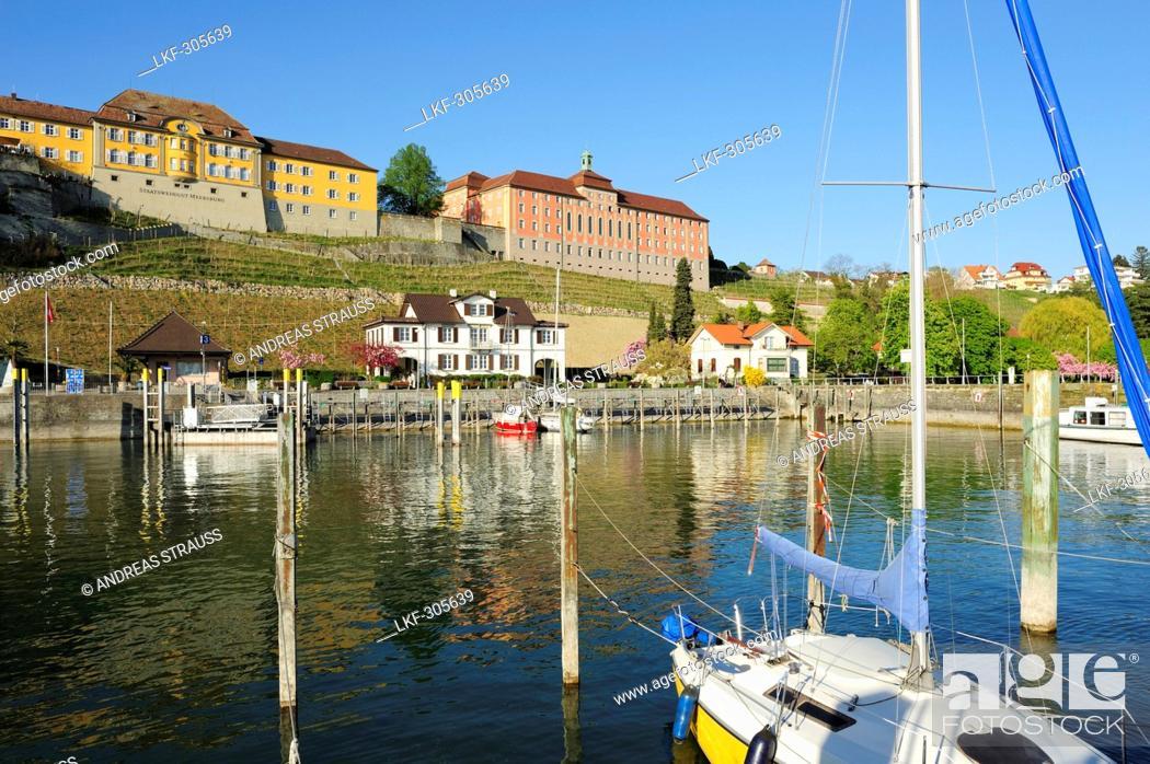Stock Photo: Meersburg harbour, Meersburg, lake Constance, Baden-Wuerttemberg, Germany.
