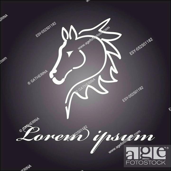 Stock Vector: Horse head symbol isolated on background. Vector illustration.