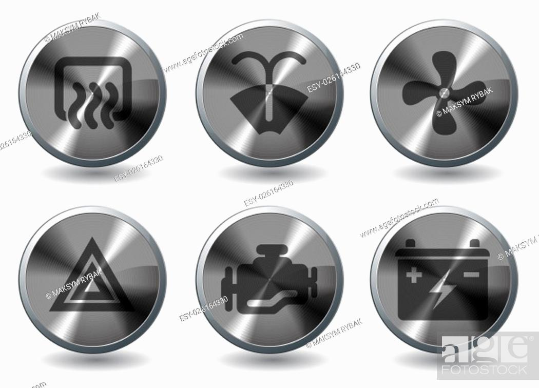Stock Photo: Car interface icons set for web sites and user interface.