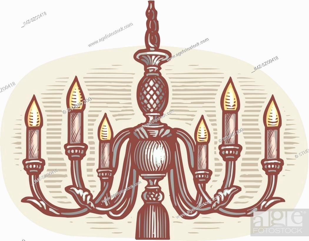 Stock Photo: Oval shaped picture of a chandelier.