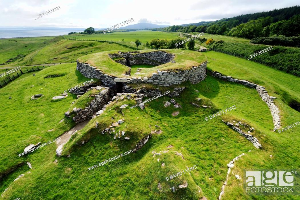 Stock Photo: Carn Liath broch 2000 years fortified homestead on North Sea coast near Golspie, Sutherland, Scotland. West over the entrance.