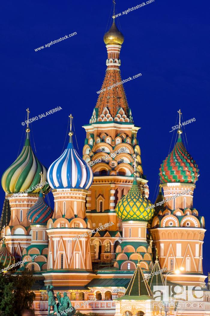 Stock Photo: night view of the Orthodox Cathedral of St  Basil in Red Square in Moscow, Russia.