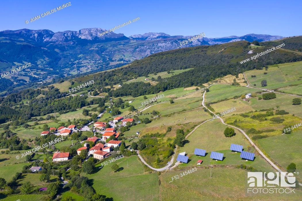 Stock Photo: Aerial View, Aja, Soba Valley, Valles Pasiegos, Cantabria, Spain, Europe.