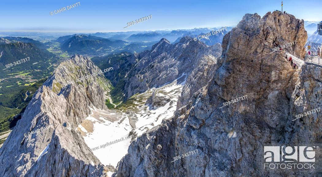 Stock Photo: View from the 2962 Panorama deck on Germany's highest mountain, the Zugspitze looking towards the Hollentalklamm Gorge, Zugspitze, Wetterstein mountain range.