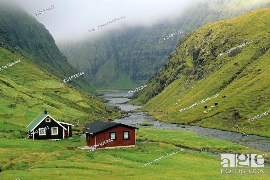 Stock Photo: Saksun, iles feroe, danemark, ocean atlantique, faroe island.