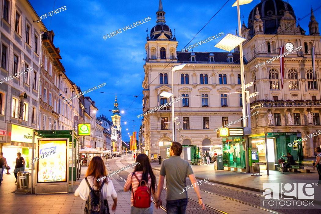 Stock Photo: Hauptplatz, at right Town Hall, Graz, Austria.