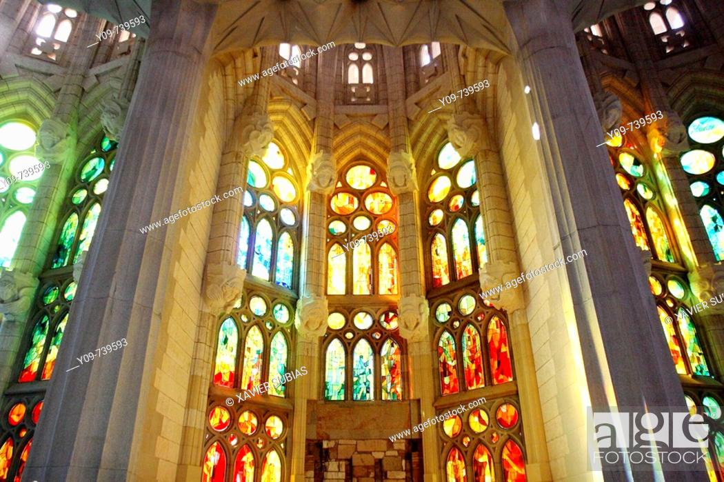 Stock Photo: Stained glass window at the Sagrada Familia temple by Gaudí, Barcelona. Catalonia, Spain.
