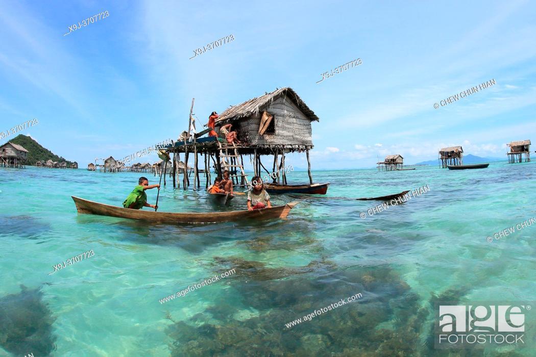 Stock Photo: Borneo Sea Gypsies, Bajau People, Semporna, Sabah , Malaysia, Asia.