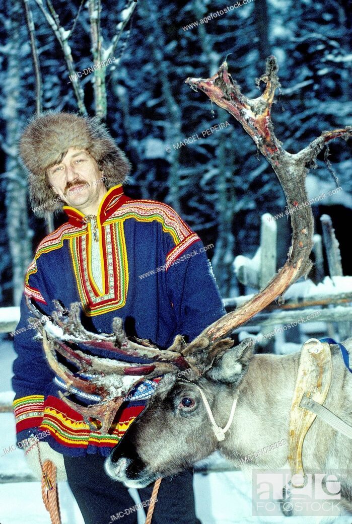 Stock Photo: Finland, Lapland, Rovaniemi, lapp in traditional costume.