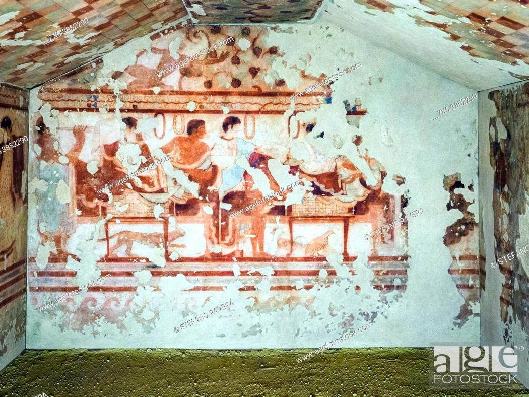 Stock Photo: Fresco painted wall in Tomba del Triclinio (. Tomb of the Triclinium) 5th century BC - Tarquinia National Archaeological Museum, Italy.
