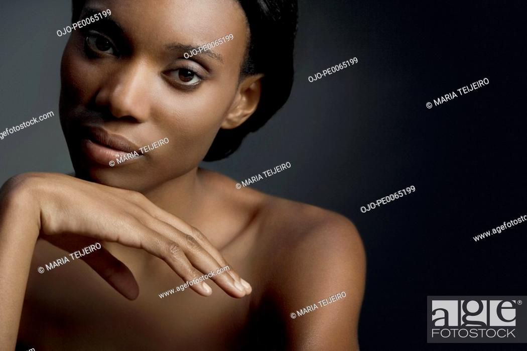 Stock Photo: Close up of African woman.