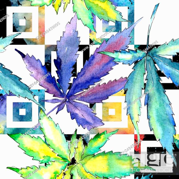 Imagen: Watercolor cannabis green leaf. Leaf plant botanical garden floral foliage. Seamless background pattern. Fabric wallpaper print texture.
