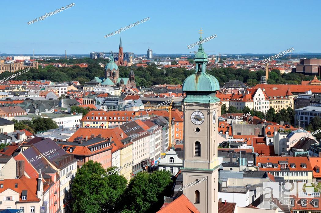 Stock Photo: blick, panorama, rundblick, Heilig-Geist-Kirche, München, kirche, kirchturm, bayern,glockenturm, architektur, stadt, aussicht, innenstadt, altstadt.