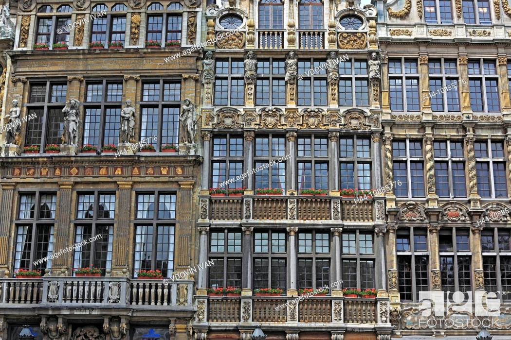 Stock Photo: Facades on the Grand Place Main Square, Brussels, Belgium.