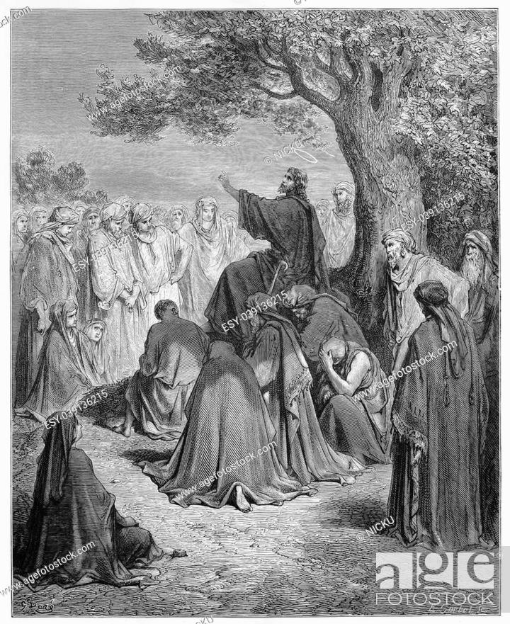 Jesus preaches to the people - Picture from The Holy Scriptures