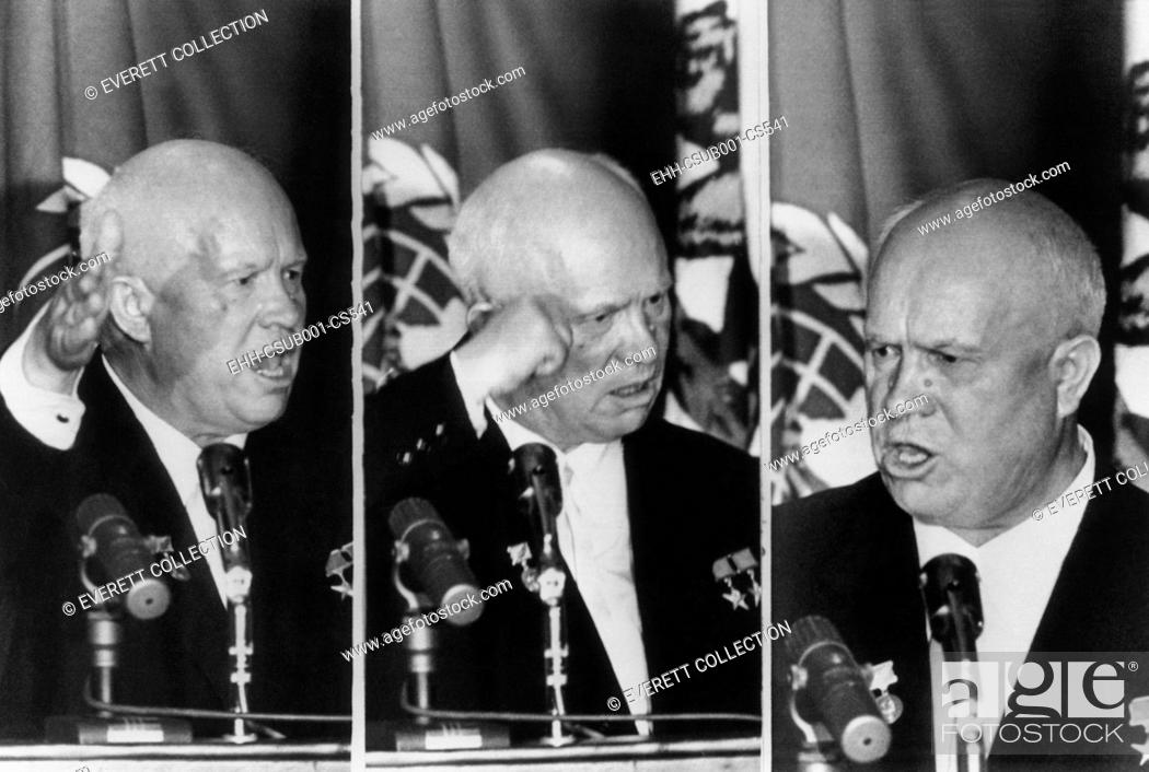 Imagen: Soviet Premier Nikita Khrushchev gestures as he reacts to L.A. Mayor Norris Poulson remarks. At the banquet given by the Los Angeles World Affairs Council.