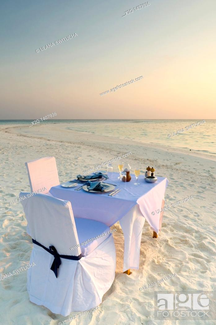 Stock Photo: Dinner of a beach in the Maldives.
