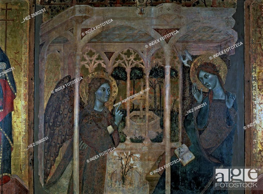 Stock Photo: 'The Annunciation', central panel of the altarpiece of 'The Annunciation and Saints John' by the?.
