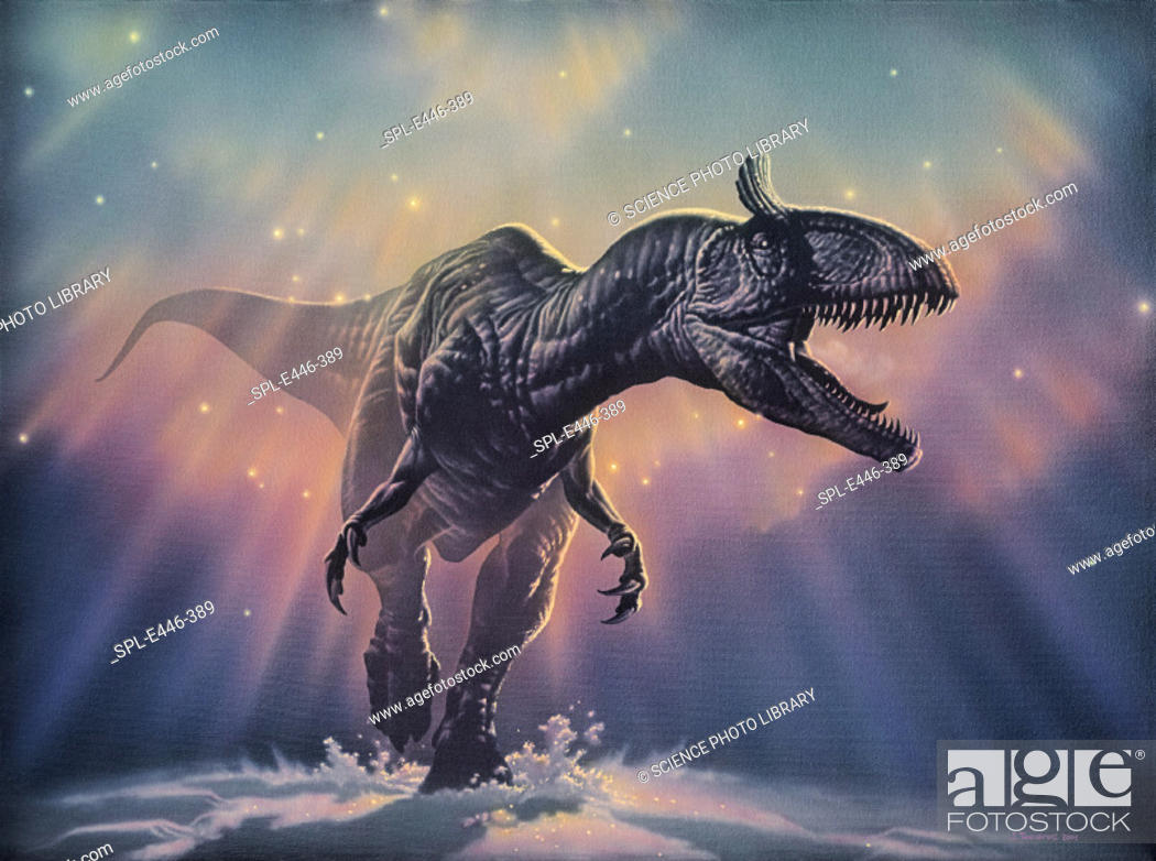 Photo de stock: 'Cryolophosaurus  dinosaur.      Artwork         of Cryolophosaurus, a carnivorous dinosaur that lived in Antarctica during the  early  Jurassic  period.