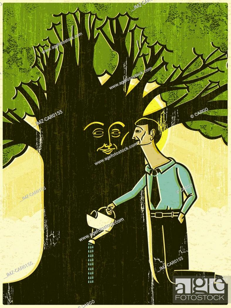 Stock Photo: A man watering a tree with a face on the trunk.