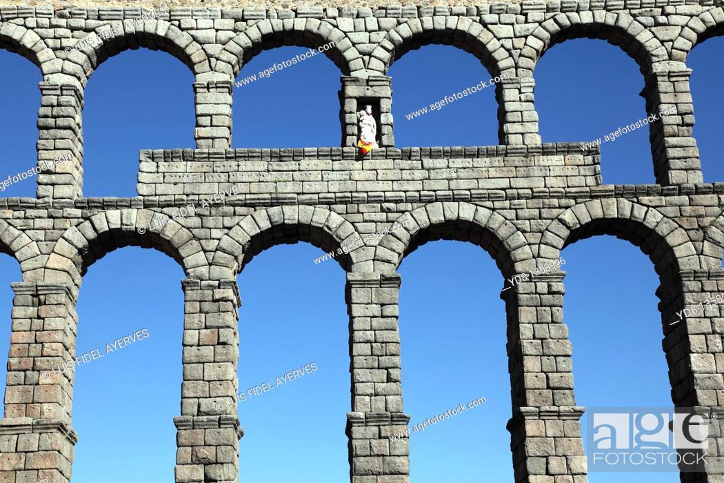 Stock Photo: Old Aqueduct of Segovia, Spain.